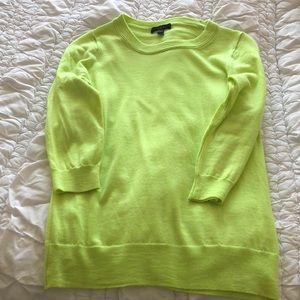 J.Crew neon yellow 3/4 length sleeve sweater